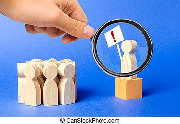 exclamation, exactitude, marque, attention, social, magnifier, dessine, regarde, personne, élévation, strike., problem., affiche, boîte, verre, tension, public, question