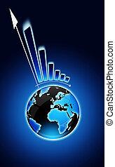 exclamation, globe, graphique financier, marque