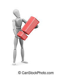 Exclamation mark - 3D render of someone holding an...