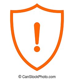 Exclamation mark and shield