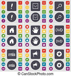 Exclamation mark, Arrow down, Magnifying glass, House, Hand, DVD, Keyboard, Megaphone, Star icon symbol. A large set of flat, colored buttons for your design. Vector