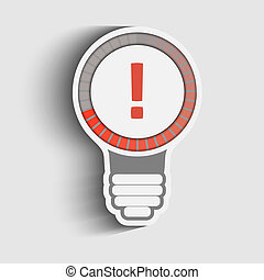 exclamation mark - Exclamation mark in a bulb, vector...