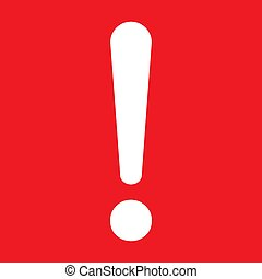 Exclamation mark flat design icon vector. Hazard warning attention sign isolated on red background