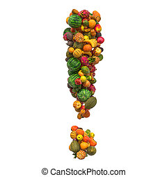 Exclamation mark from fruits, 3D rendering