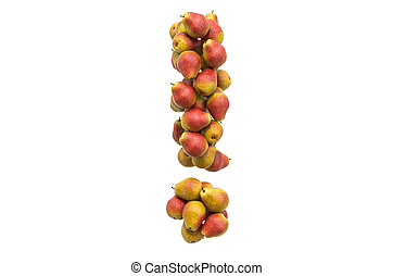 Exclamation mark from pears. 3D rendering