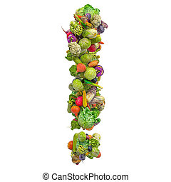 Exclamation mark from vegetables, 3D rendering
