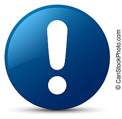 Exclamation mark icon blue round button