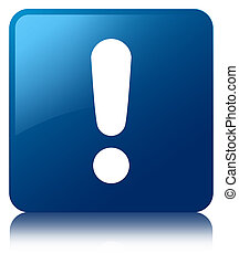 Exclamation mark icon blue square button