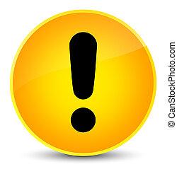 Exclamation mark icon elegant yellow round button