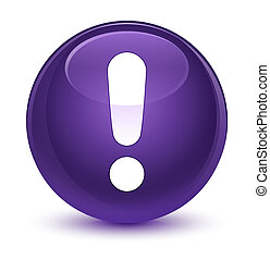 Exclamation mark icon glassy purple round button