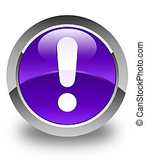 Exclamation mark icon glossy purple round button