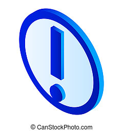 Exclamation mark icon, isometric style