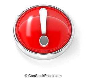 Exclamation mark icon on glossy red round button