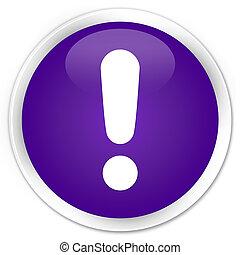 Exclamation mark icon premium purple round button
