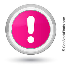 Exclamation mark icon prime pink round button