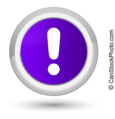 Exclamation mark icon prime purple round button