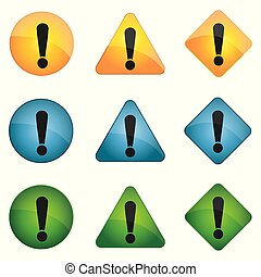 Exclamation mark icon set in flat style. Yellow, blue, green