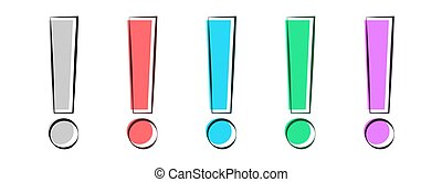Exclamation mark icon set on a white background. Vector illustration.