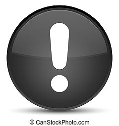 Exclamation mark icon special black round button