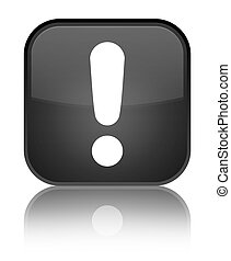 Exclamation mark icon special black square button