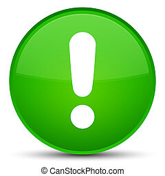 Exclamation mark icon special green round button