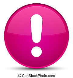 Exclamation mark icon special pink round button