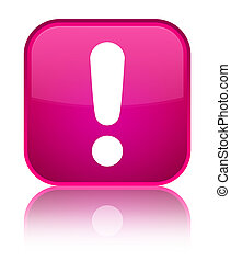 Exclamation mark icon special pink square button
