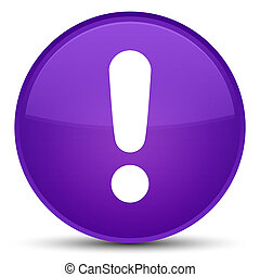 Exclamation mark icon special purple round button