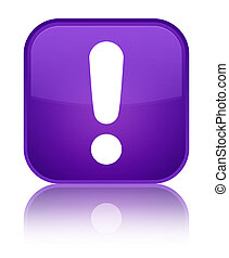 Exclamation mark icon special purple square button