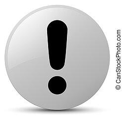 Exclamation mark icon white round button
