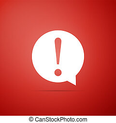 Exclamation mark in circle icon isolated on red background. Hazard warning symbol. Flat design. Vector Illustration