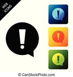 Exclamation mark in circle icon isolated on white background. Hazard warning symbol. Set icons colorful square buttons. Vector Illustration