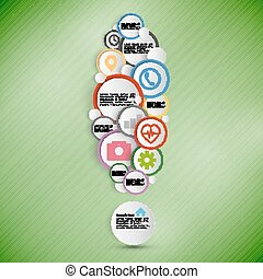 Exclamation mark. Infographic with colored circles for business, template vector