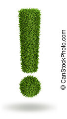 Exclamation mark natural 3d isolated photo realistic grass