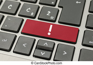 Exclamation mark on computer keyboard