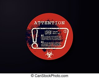 Exclamation mark on sticker with biohazard warning sign. Attention sign icon. Hazard warning symbol, vector illustration