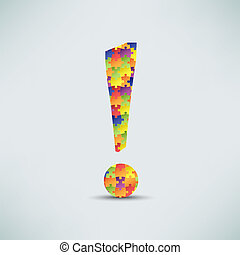 Exclamation mark puzzle background vector eps 10