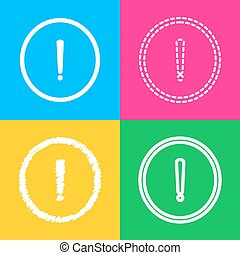 Exclamation mark sign. Four styles of icon on four color squares.