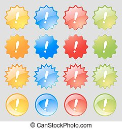 Exclamation mark sign icon. Attention speech bubble symbol. Big set of 16 colorful modern buttons for your design. Vector