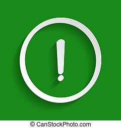 Exclamation mark sign. Vector. Paper whitish icon with soft shadow on green background.