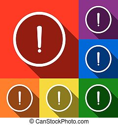 Exclamation mark sign. Vector. Set of icons with flat shadows at red, orange, yellow, green, blue and violet background.