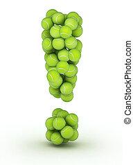 Exclamation mark, tennis balls alphabet