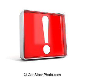 Exclamation mark - web button isolated on white background
