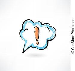 exclamation, nuage, marque