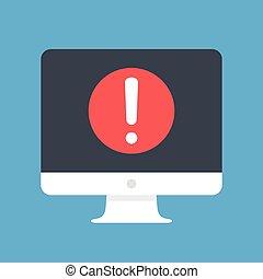exclamation, plat, informatique, point, moderne, screen., alerte, vecteur, conception, message, message, avertissement, concepts., icône