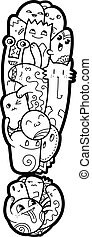 Hand drawn doodled kids symbol. Cute monstred numbers, math, text letters.