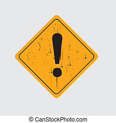 Exclamation point on a road sign over white background