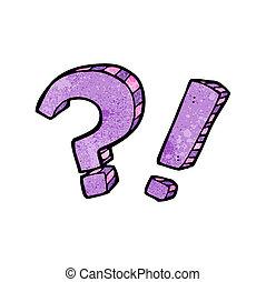 exclamation, question, dessin animé, marque