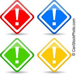 exclamation, rhombe, vecteur, signe