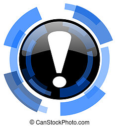 exclamation sign black blue glossy web icon